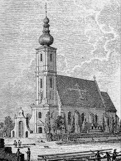 Kościół św. Maurycego, 1807 r., grafika Fryderyk Bogumił Endler, Wrocław, Przedmieście Oławskie, św. Jan Nepomucen