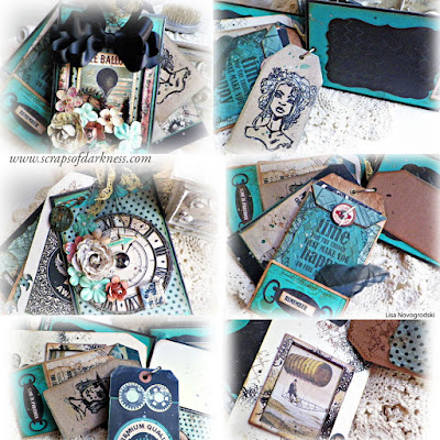 Scraps of Darkness scrapbook kits: Lisa Novogrodski created this beautiful steampunk tag & bag mini album with the Marion Smith Time Keeper and Kaisercraft Time Machine collections, as well as the Gelatos and Brett Weldele stamps in our Sept. Tanya's Industrial Odyssey kit. Find our kits here: www.scrapsofdarkness.com