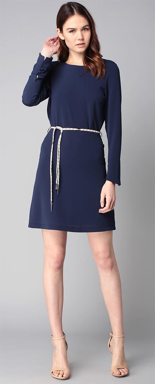 Robe courte manches longues La Petite Française bleue