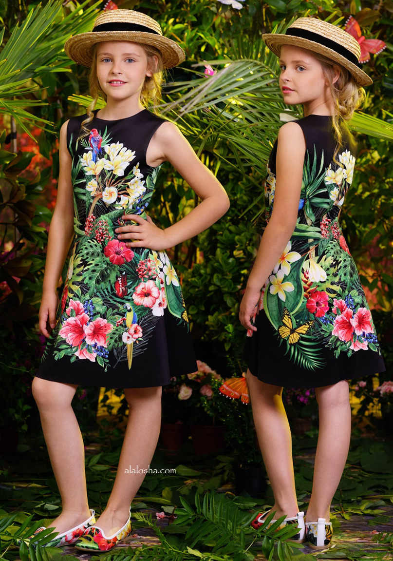 Black Tropical Garden Neoprene Dress
