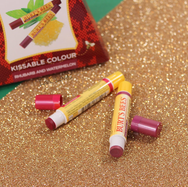 Burt's Bees Kissable Colour Set - Rhubarb and Watermelon Lip Shimmers Swatches & Review