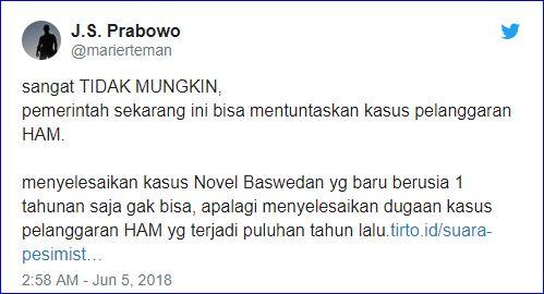 Suryo Prabowo: Sangat Tidak Mungkin, Pemerintah Sekarang Bisa Tuntaskan Kasus Pelanggaran HAM