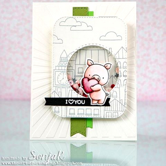 London Mouse, Birdie Brown Hog Heaven and Birthday Bears stamp sets, and Stitched Rounded Rectangle STAX, Stitched Fishtail Flags STAX, and Blueprints 27 Die-namics - Sonja K. #mftstamps