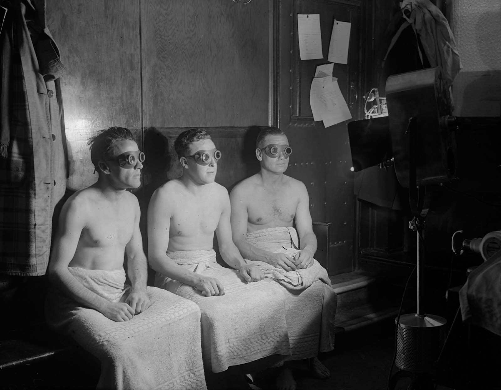 Members of Arsenal Football team have sunlight treatment. 1931.