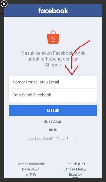 Halaman Daftar Shopee Menggunakan Akun Facebook