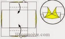Bước 6: Gấp hai cạnh giấy vào trong.