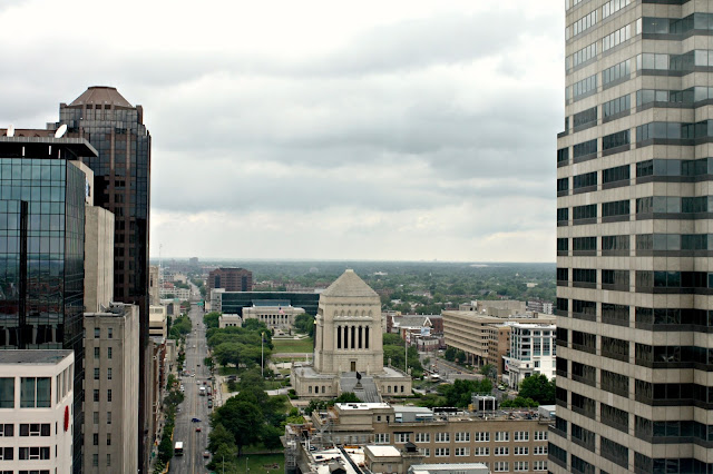 View of Indiana War Memorial from Soldiers' and Sailors' Monument.