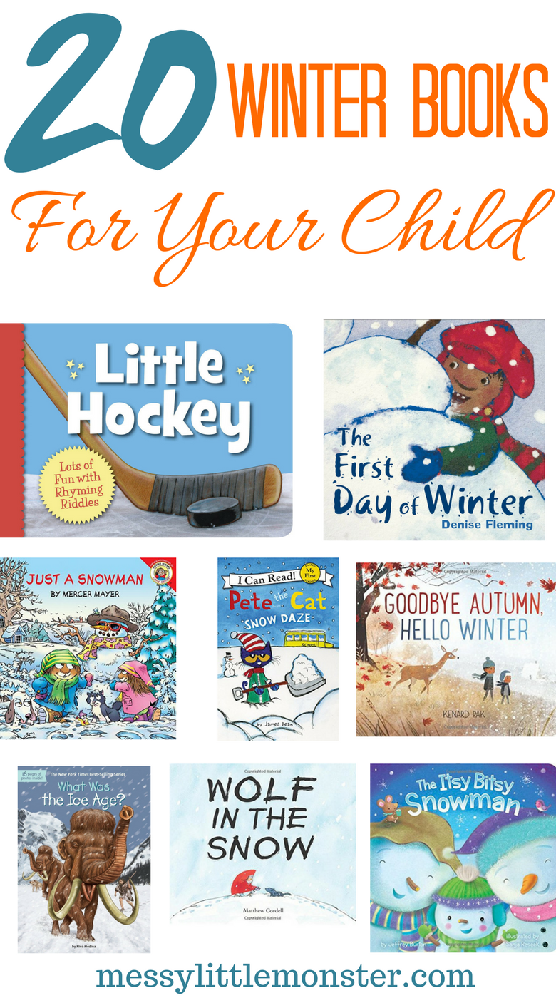 Winter themed books for kids. 20 snow, ice, snowflakes and snowmen inspired stories for young children. Great for toddlers and preschooler seasonal projects.