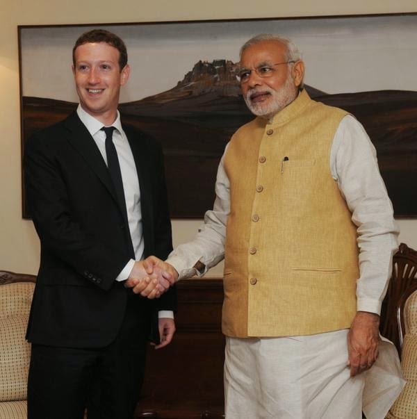 Facebook CEO Mark Zuckerberg with Indian PM Narendra Modi