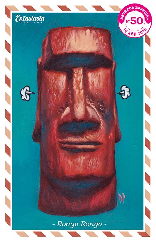 Moai pintado en acrílico por David Pugliese.