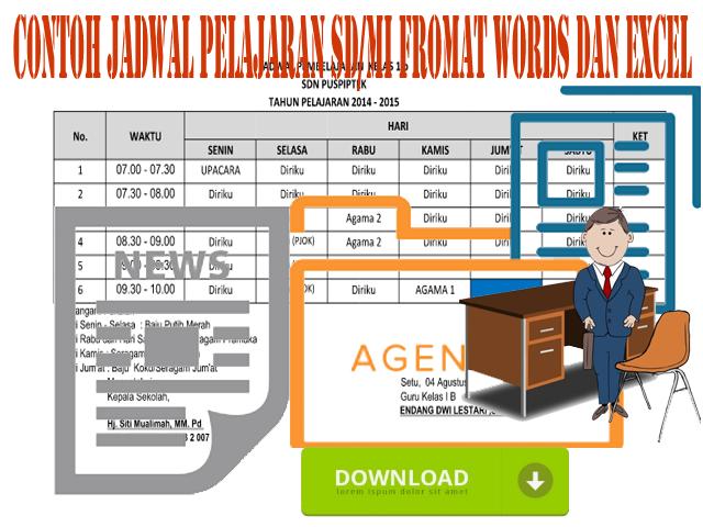Contoh Jadwal Pelajaran SD/MI Fromat Words dan Excel