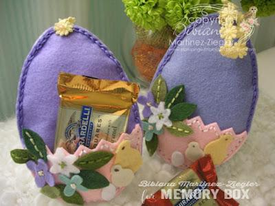 group of 2 Felt eggs with chocolates