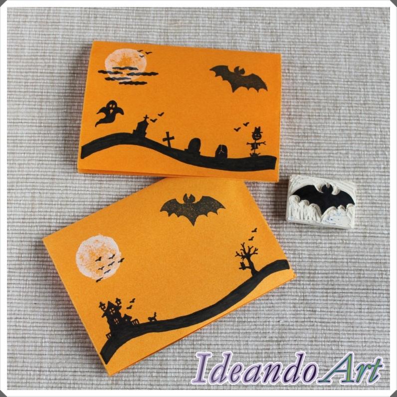 Tarjetas Halloween sello murciélago