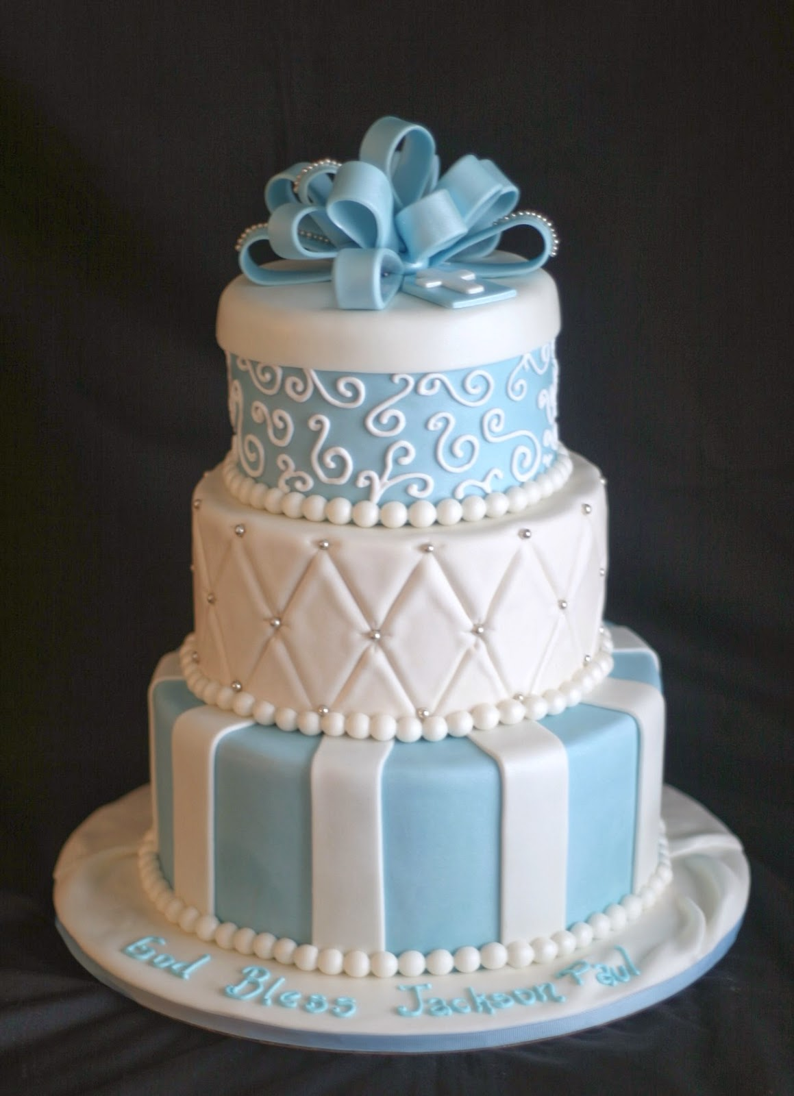 wedding cakes baby blue and white pink cake white and baby blue baptism cake 23836