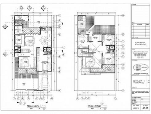 10 desain denah rumah minimalis 2 lantai terbaik | desain