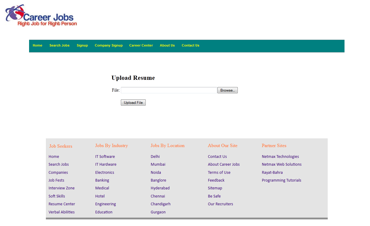 resume upload portal