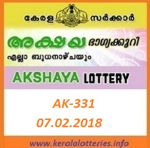 AKSHAYA (AK-331) LOTTERY RESULT ON FEBRUARY 07, 2018