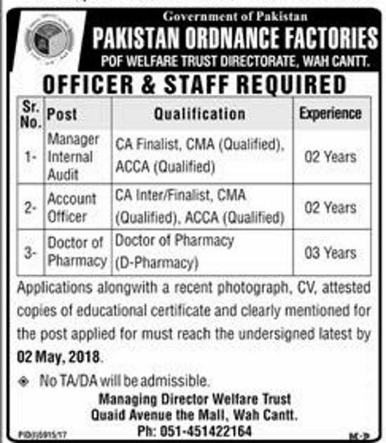 Pakistan Ordinance Factories Latest Jobs for Internal Audit, Account Officer, Doctor Pharmacy