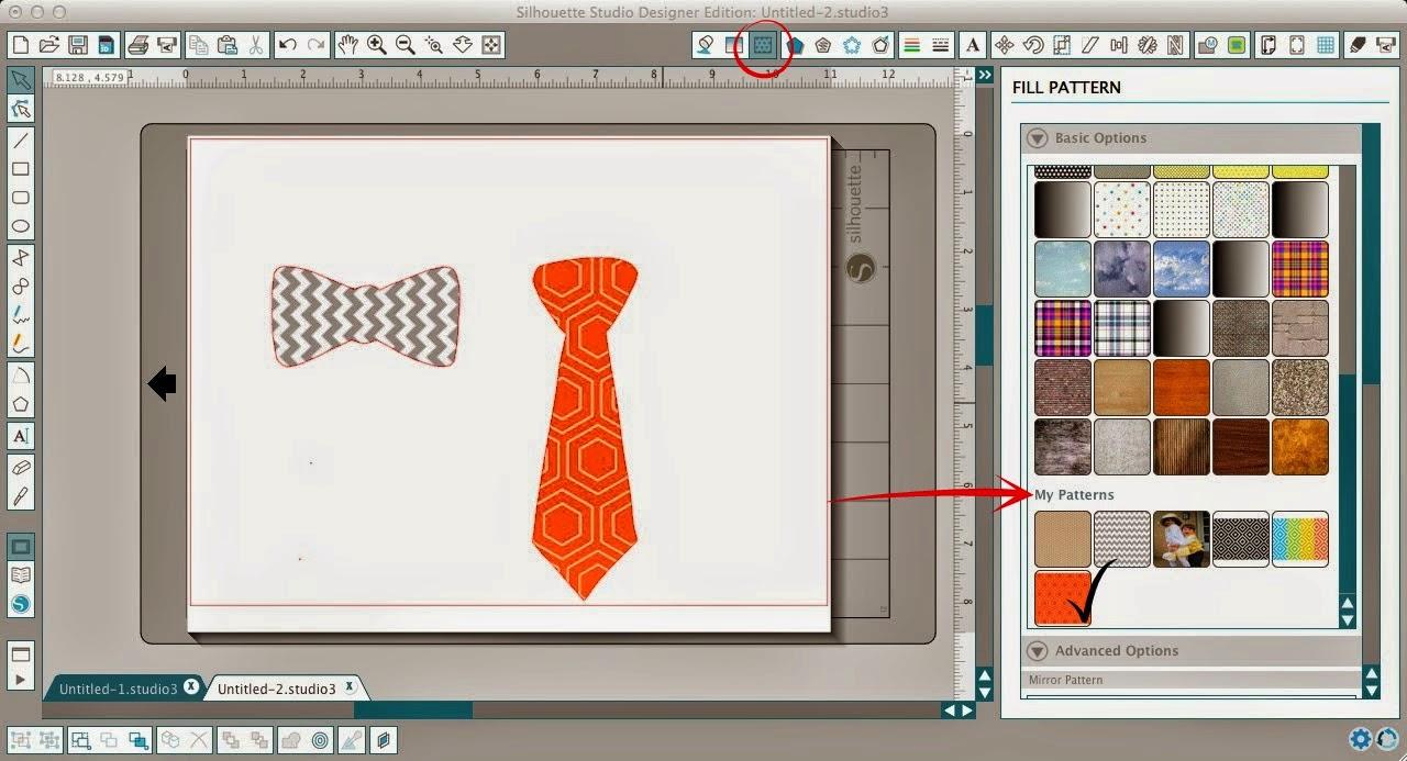Patterns, adding, Silhouette Studio, easy steps, fill pattern
