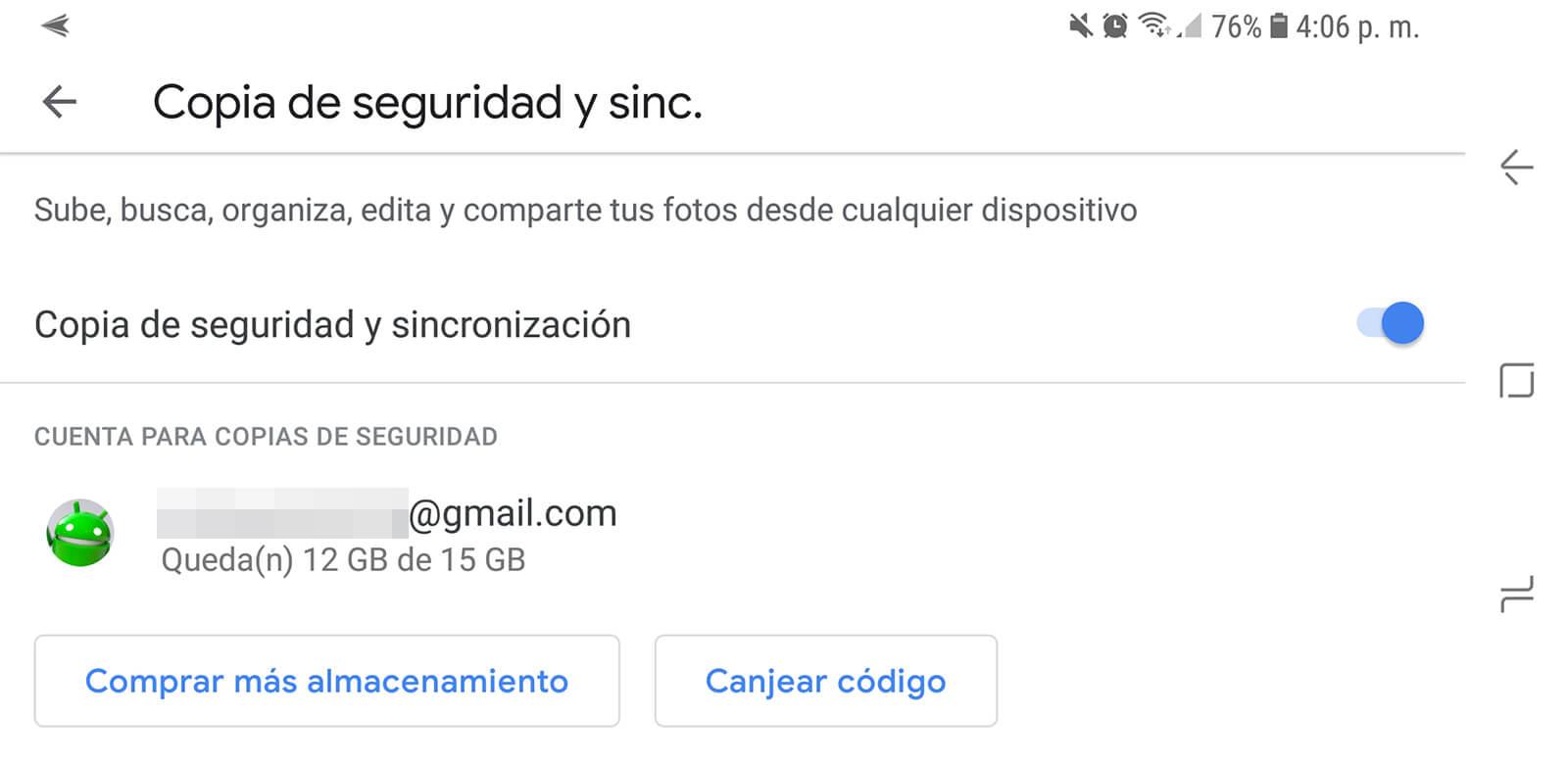Copia de seguridad y sincronización Google Fotos