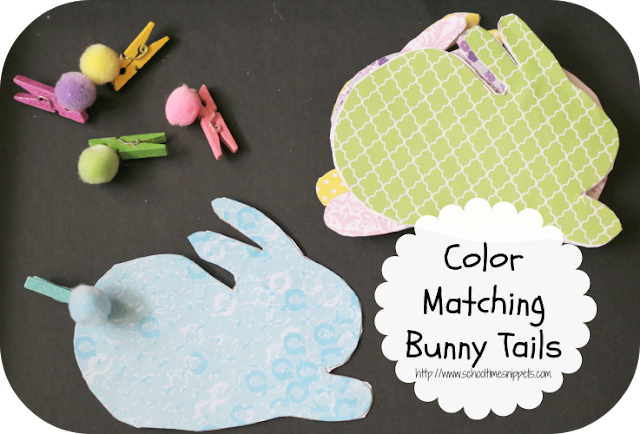 fine motor color matching bunny tails