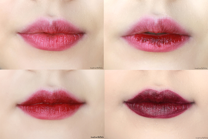 MAC Dionysus Liptensity Lipstick Swatches, Review, FOTD gradient burgundy lip