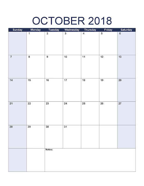 Print October 2018 Calendar, free October 2018 Calendar, printable October 2018 Calendar, October 2018 Calendar Printable, October 2018 Calendar template, October Calendar 2018, October 2018 Blank Calendar