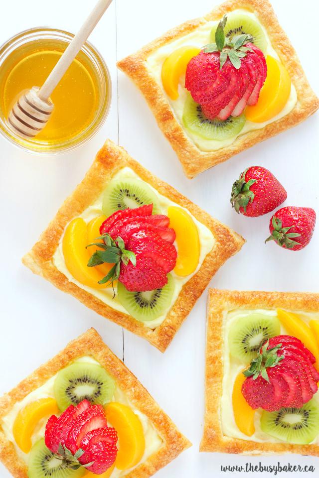 Honey Glazed Fruit Tarts with Vanilla Custard Filling www.thebusybaker.ca