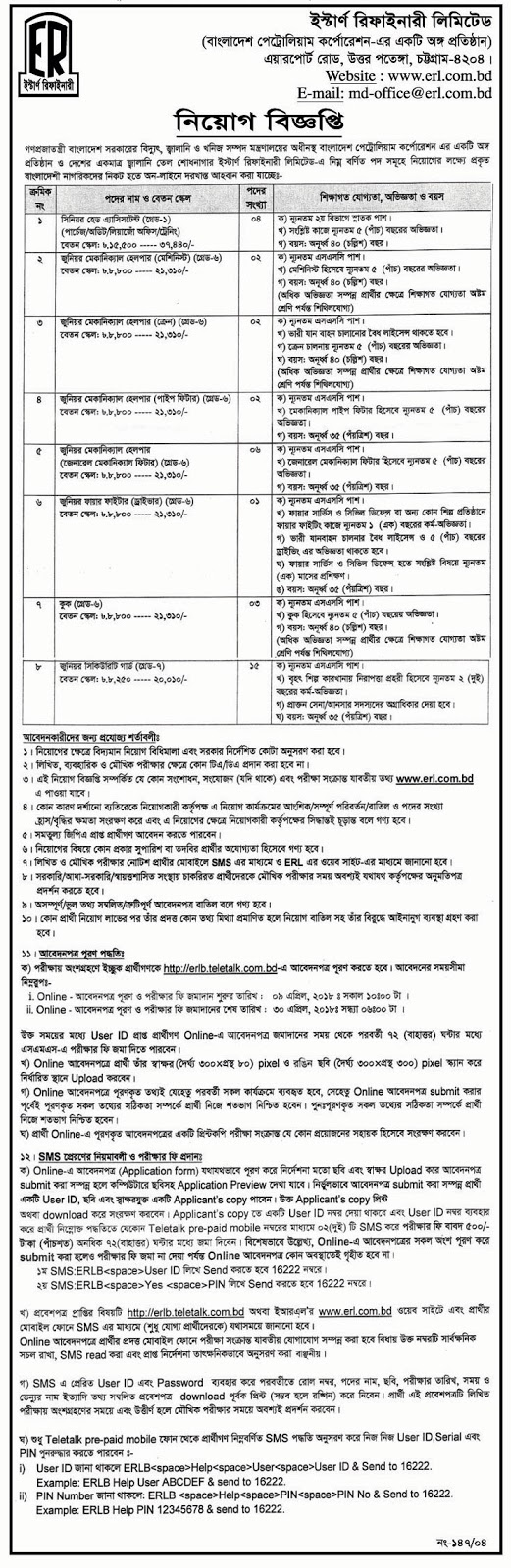 Eastern Refinery Limited (ERL) Job Circular 2018