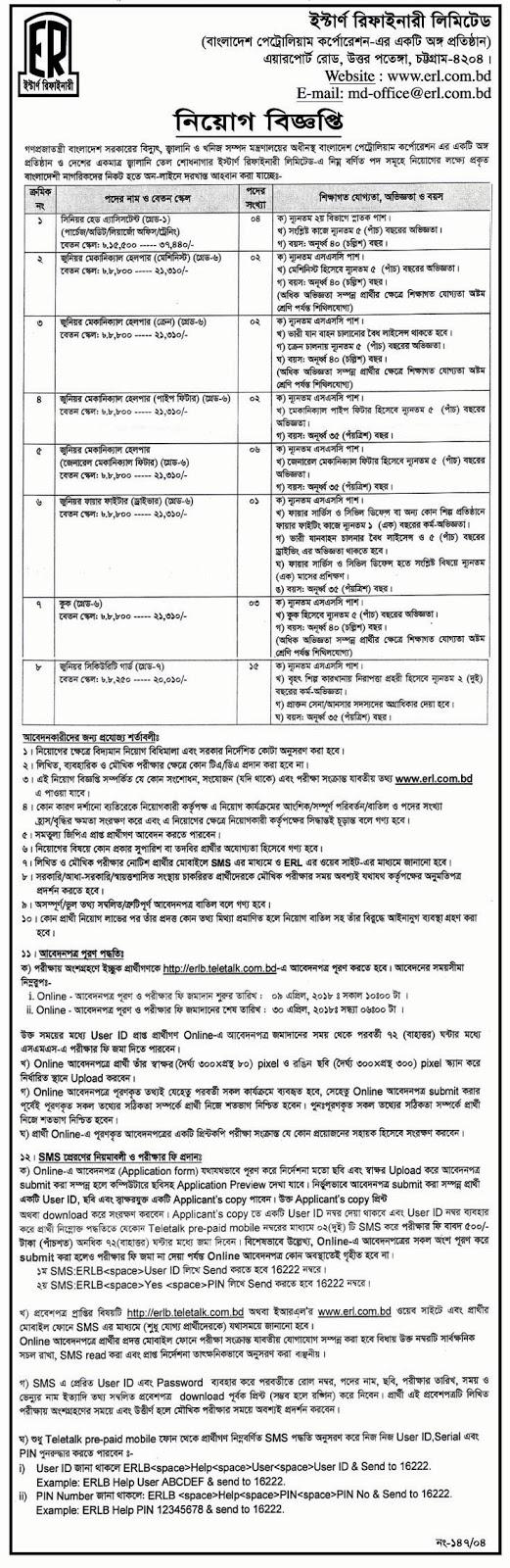 Eastern Refinery Limited (ERL) Job Circular 2018