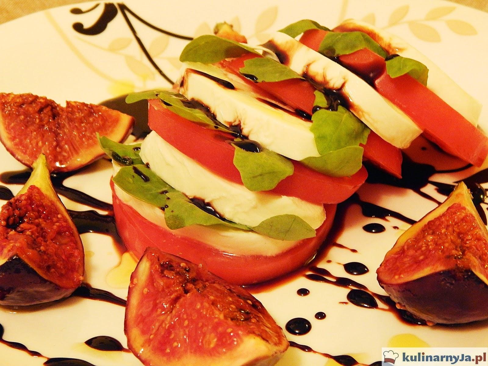 Figi z mozzarellą i pomidorami w balsamicznym sosie