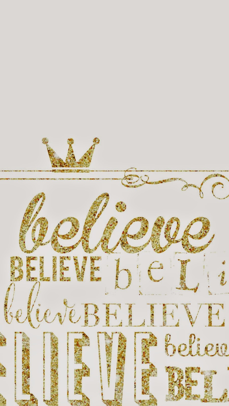Grey gold Crown Believe iphone wallpaper phone background