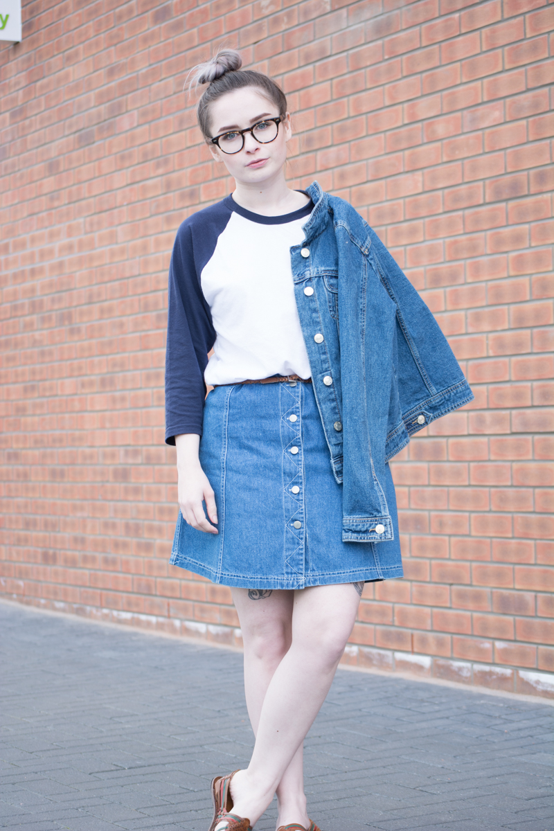 double denim 90s throwback baseball top outfit ootd