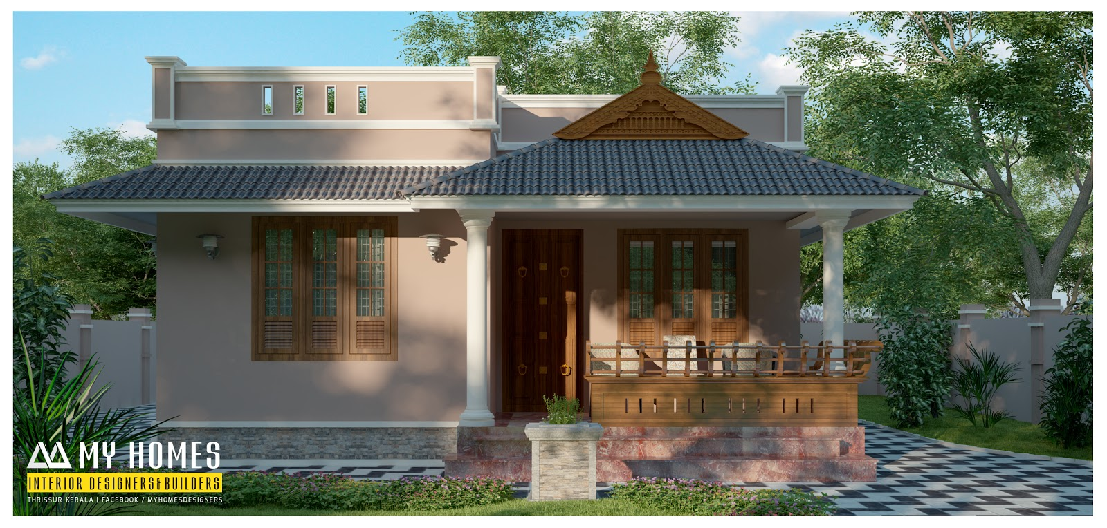 VEEDU DESIGNS 900 Sqft Kerala Home Design