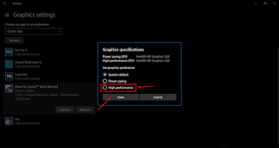 Pengaturan ibarat mengatur aplikasi atau game ke mode  Cara Setting App/Game Ke High Performance di Windows (April Update)