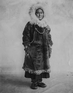 A photograph of Ada Blackjack in heavy furs.