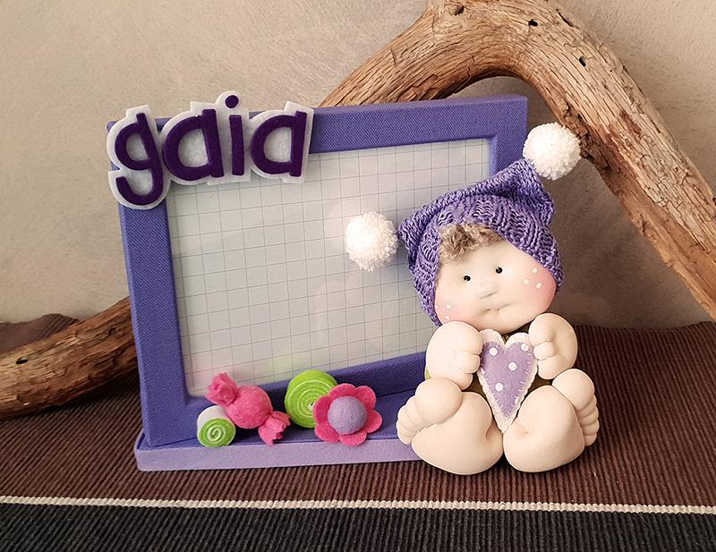 portafoto lilla bambolotto personalizzato