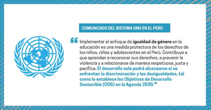 La ONU muestra preocupación por la suspensión del enfoque de género en el Currículo Nacional