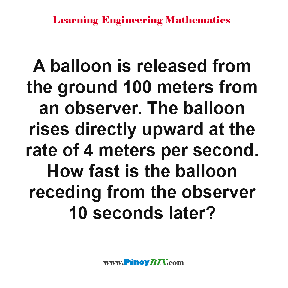 How fast is the balloon receding from the observer 10 seconds later?
