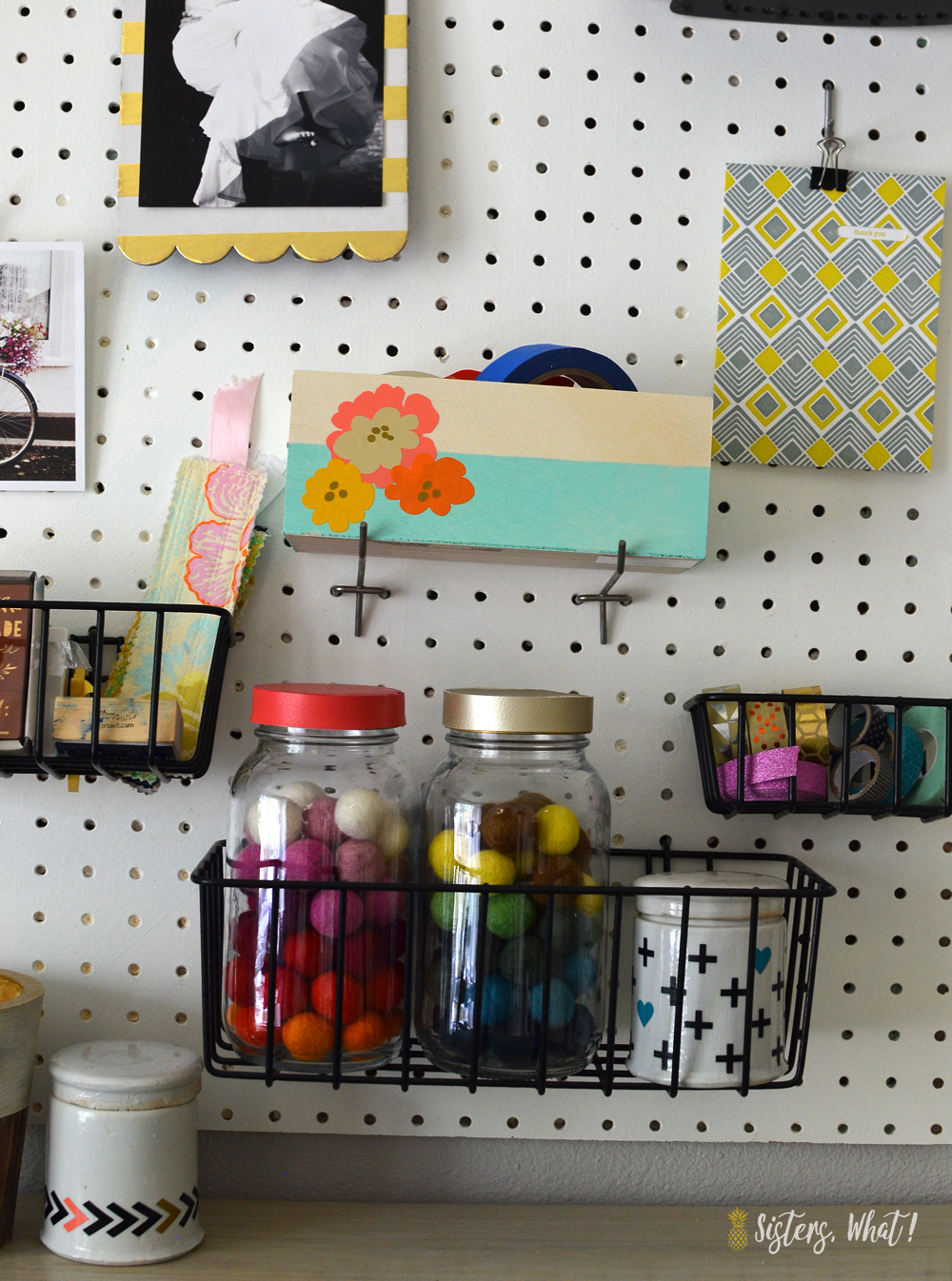 Use Pegboard Baskets To Hold Craft Storage On Pegboard