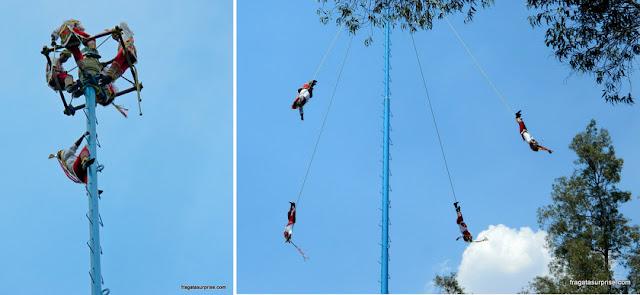 Voladores, ritual tradicional do México no Bosque de Chapultepec