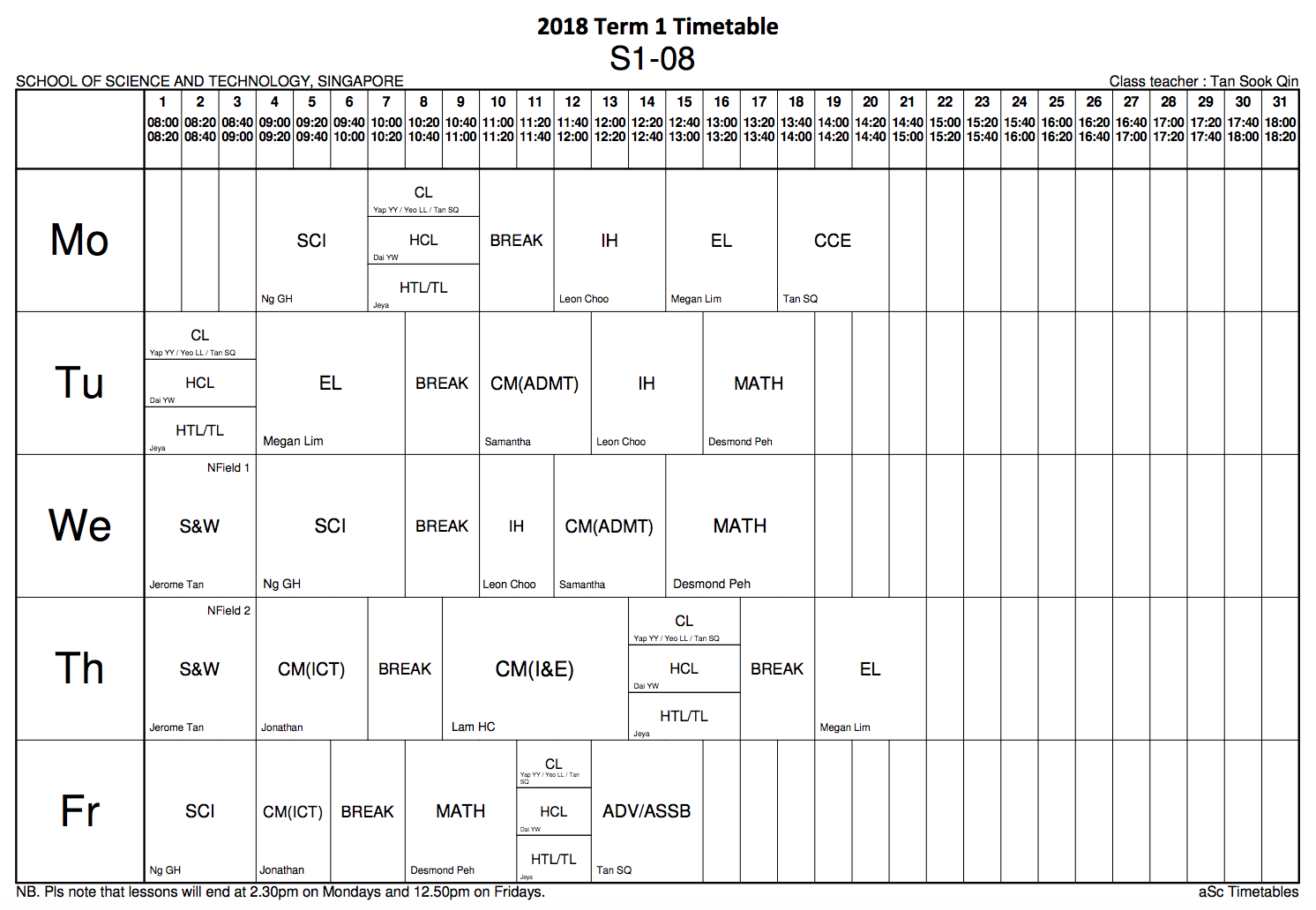 Cl Timetable | 2018 S1 08 Class Blog New Time Table