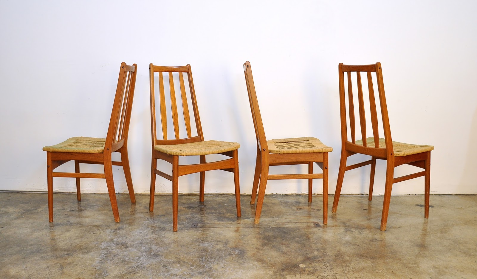 Select Modern Set Of Four Niels Koefoed Eva Style Teak
