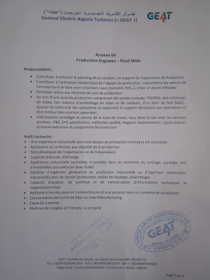 إعلان عن توظيف في جنرال إلكتريك ألجيريا توربين GEAT