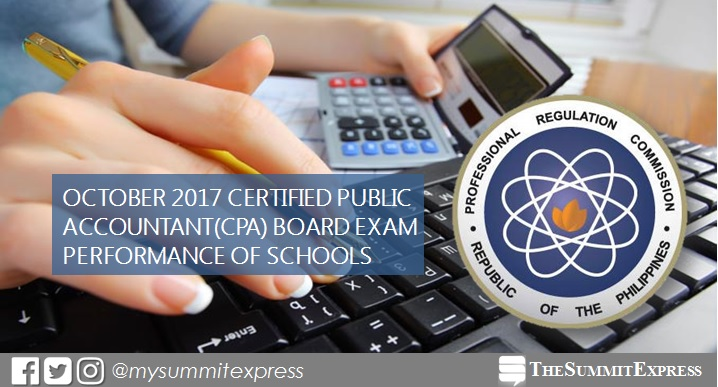 Performance of schools: October 2017 CPA board exam results