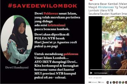 Perekam Video Dugaan Kristenisasi di Lombok Ini Diperiksa Polisi, Warganet Ramai-Ramai Serukan 'Save Dewi Handayani'