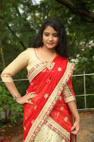 Akshara in Red Saree Golden Choli at LV Movie Makers Production No 1 Movie Opening ~  Exclusive 029.JPG