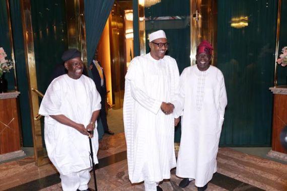 Image result for Tinubu, Akande visit Buhari in Abuja