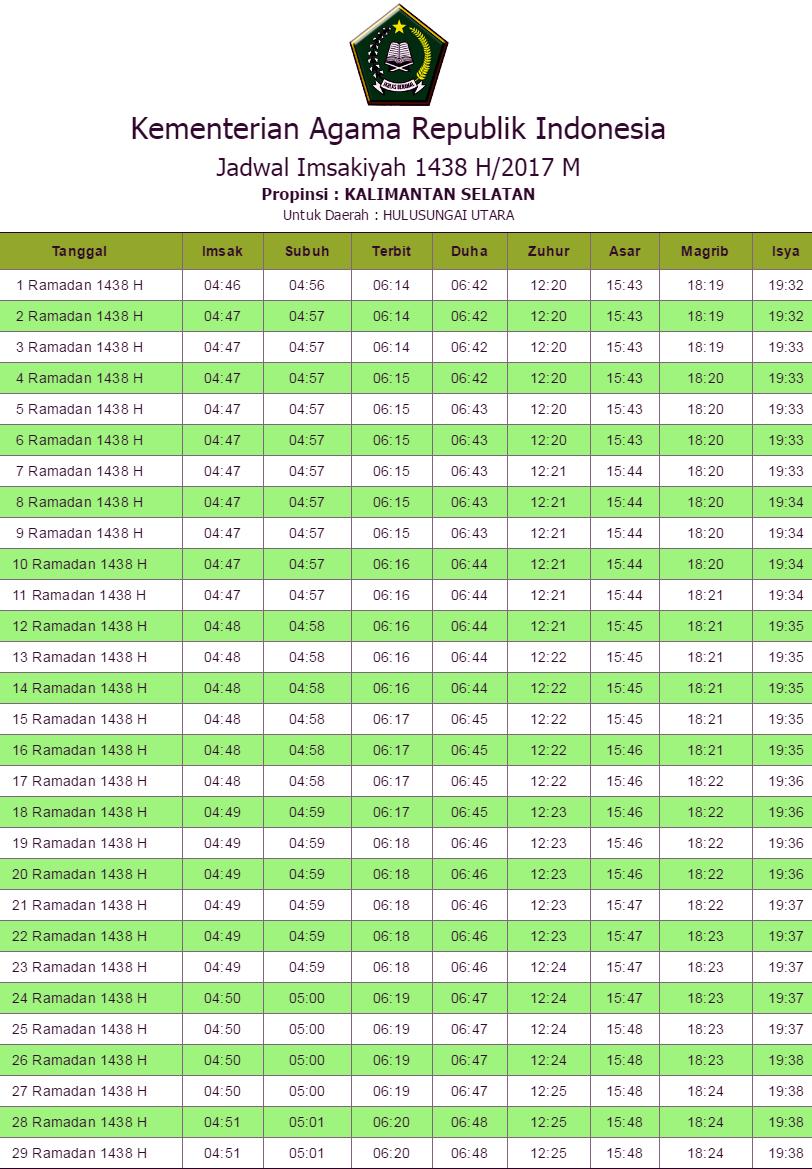 Jadwal Imsakiyah Hulu Sungai Utara 2017 Dan Sekitarnya Hari Ini