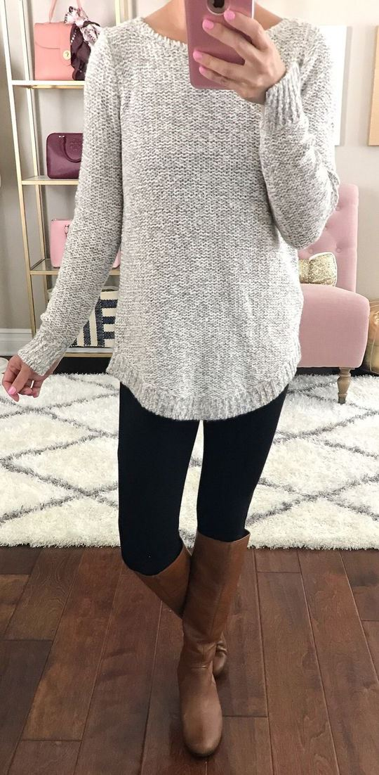 trendy outfit / grey sweater + black skinnies + high boots